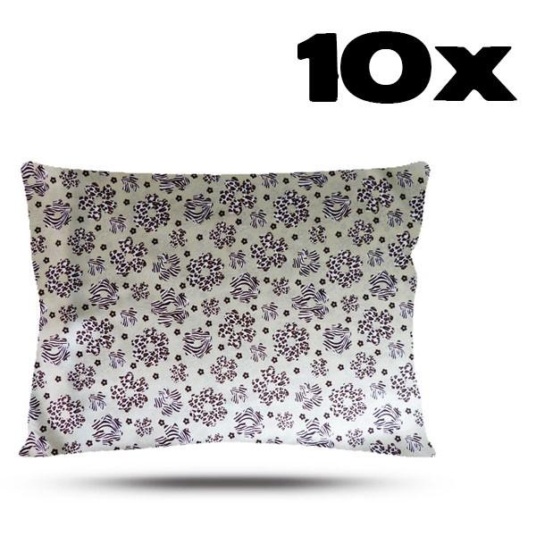 Kit com 10 Fronhas de Cetim - Floral Animal