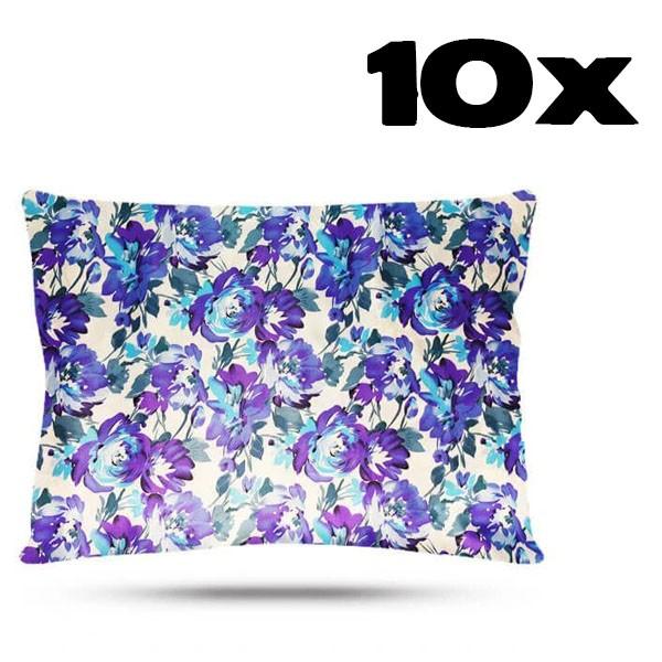 Kit com 10 Fronhas de Cetim - Floral Azul I