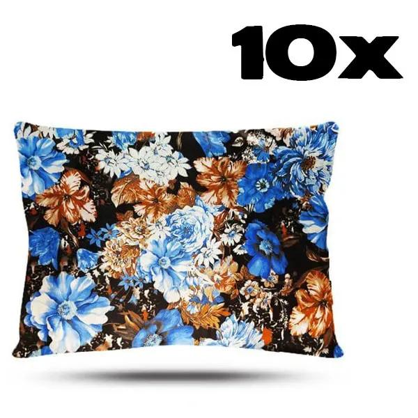 Kit com 10 Fronhas de Cetim - Floral Azul II