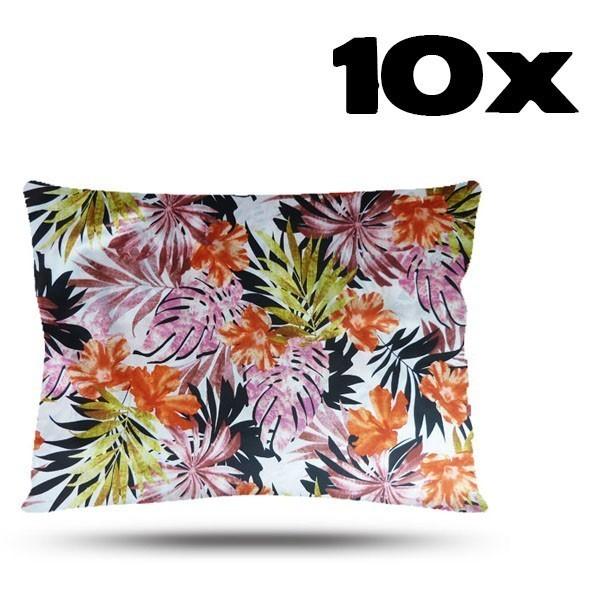 Kit com 10 Fronhas de Cetim - Floral Ferrugem