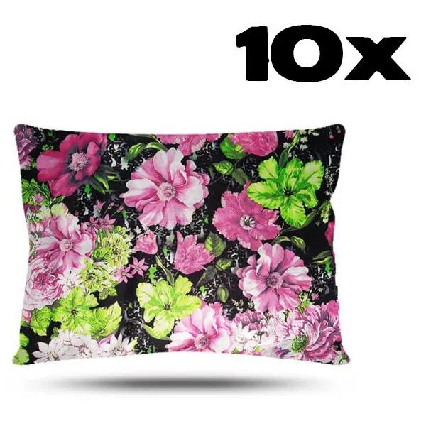 Kit com 10 Fronhas de Cetim - Floral Rosa