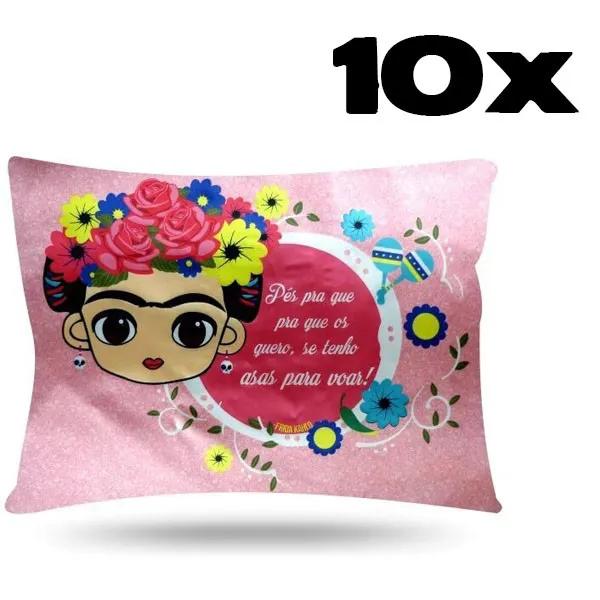 Kit com 10 Fronhas de Cetim - Frida Kahlo
