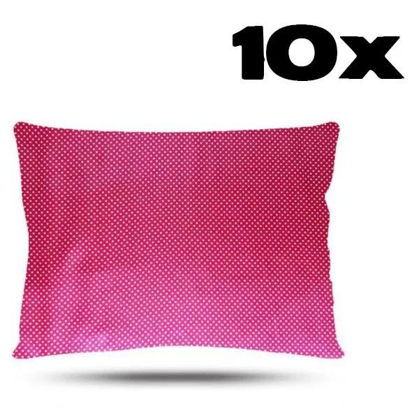 Kit com 10 Fronhas de Cetim - Poá Rosa