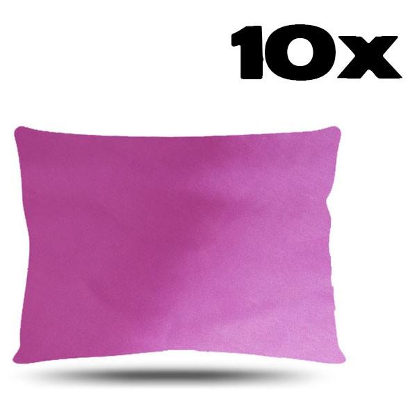Kit com 10 Fronhas de Cetim - Rosa Chiclete