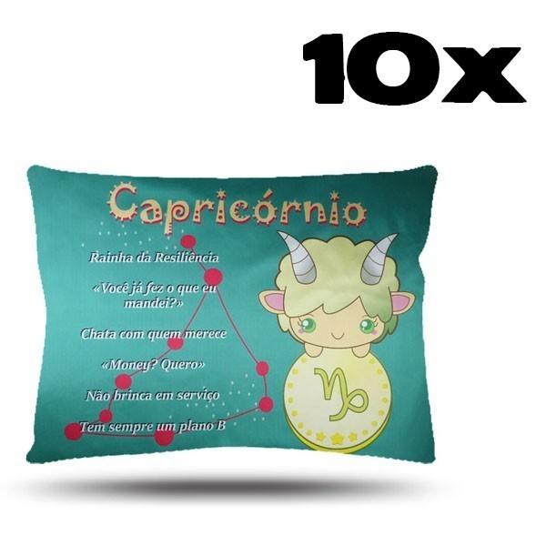 Kit com 10 Fronhas de Cetim - Signo - Capricórnio