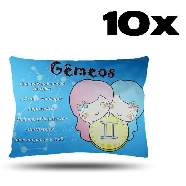 Kit com 10 Fronhas de Cetim - Signo - Gêmeos