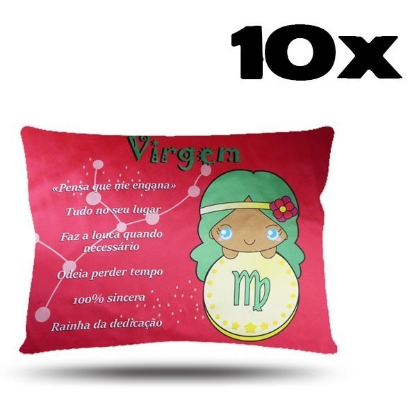 Kit com 10 Fronhas de Cetim - Signo - Virgem