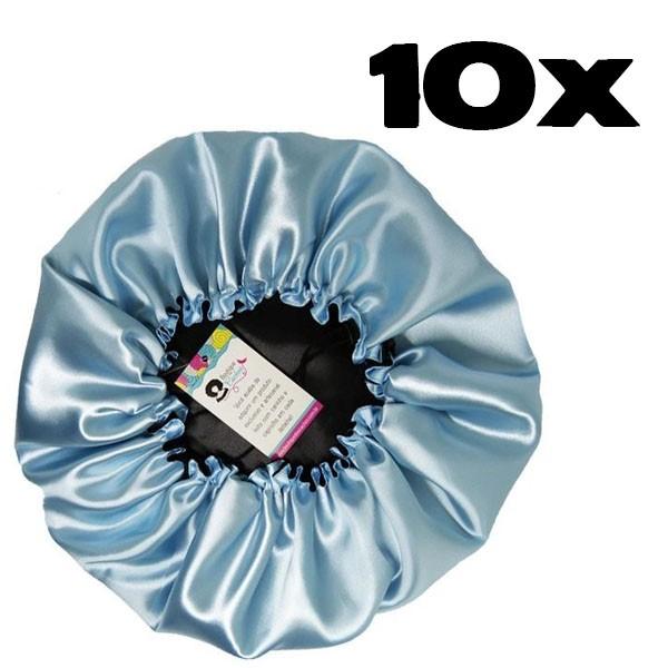 Kit com 10 Toucas de Cetim - Preto com Azul Claro
