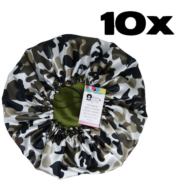 Kit com 10 Toucas de Cetim - Camuflado Verde