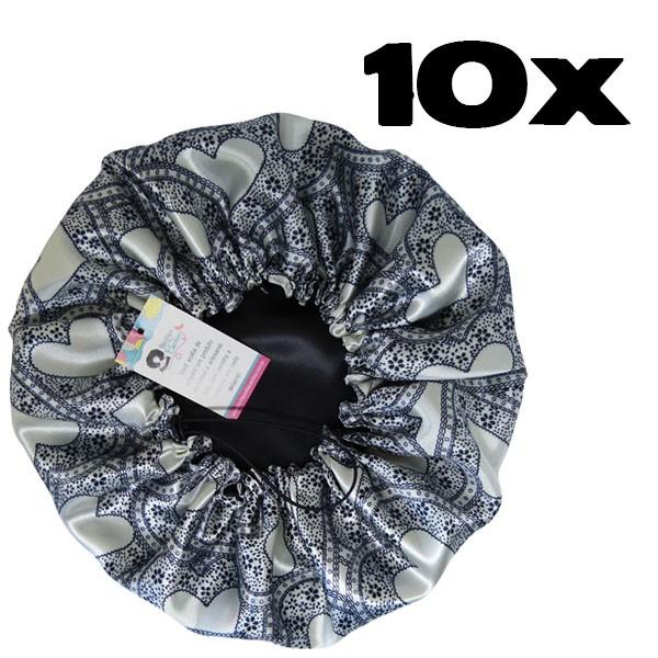 Kit com 10 Toucas de Cetim - Corações Brancos