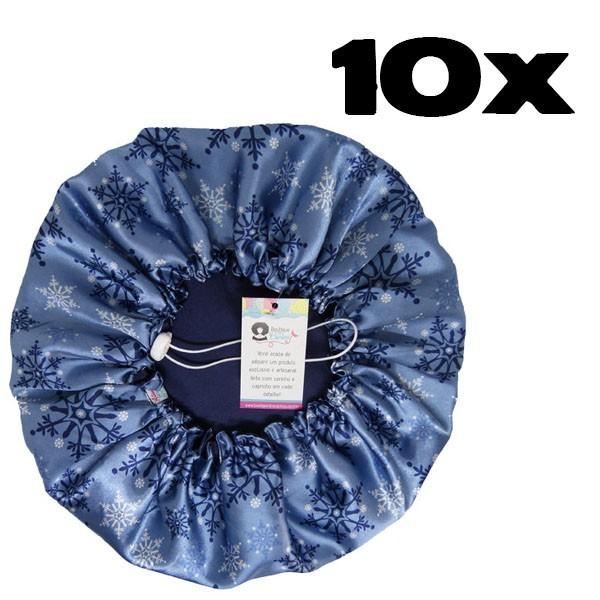 Kit com 10 Toucas de Cetim - Flocos de Neve Azul