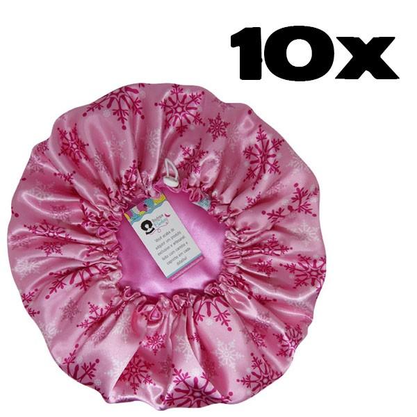 Kit com 10 Toucas de Cetim - Flocos de Neve Rosa