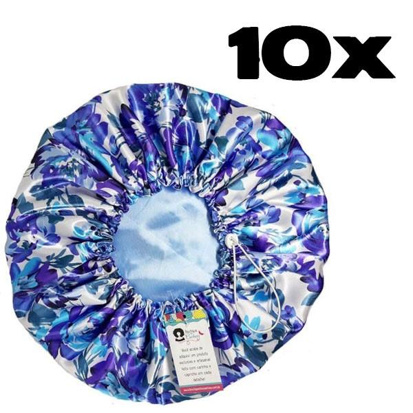 Kit com 10 Toucas de Cetim - Floral Azul I