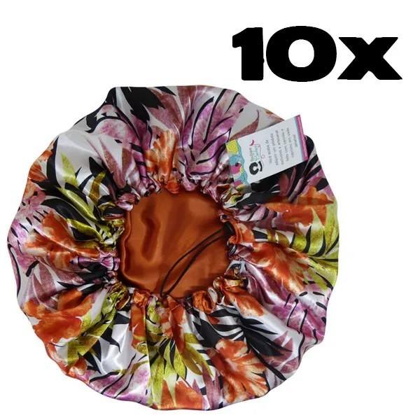 Kit com 10 Toucas de Cetim - Floral Ferrugem