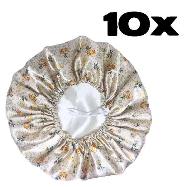 Kit com 10 Toucas de Cetim - Flores Amarelas