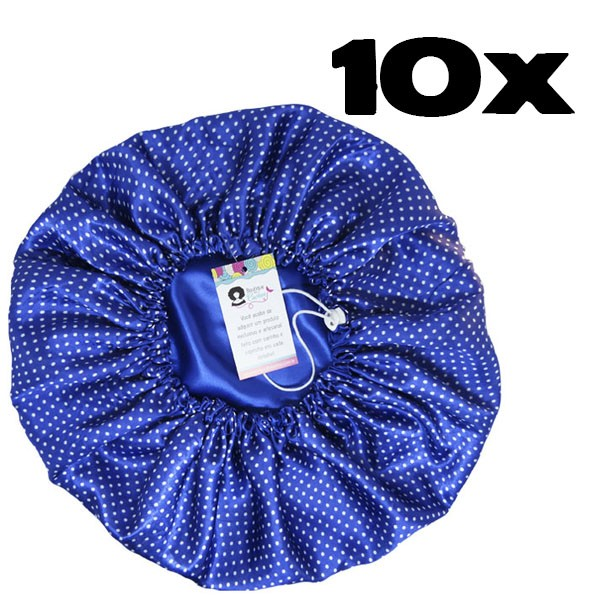 Kit com 10 Toucas de Cetim - Poá Azul Royal