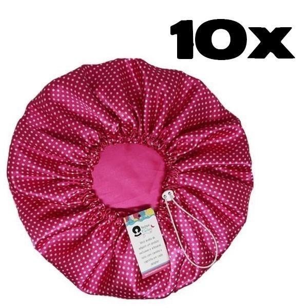 Kit com 10 Toucas de Cetim - Poá Rosa
