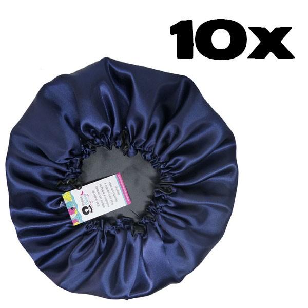 Kit com 10 Toucas de Cetim - Preto com Azul Marinho