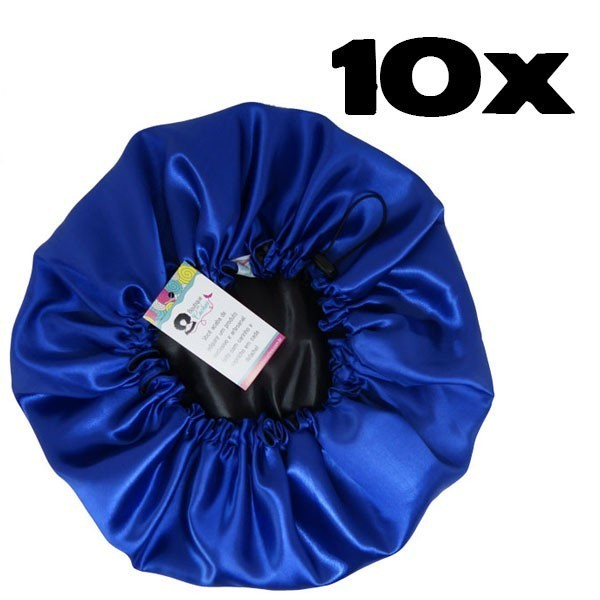 Kit com 10 Toucas de Cetim - Preto com Azul Royal