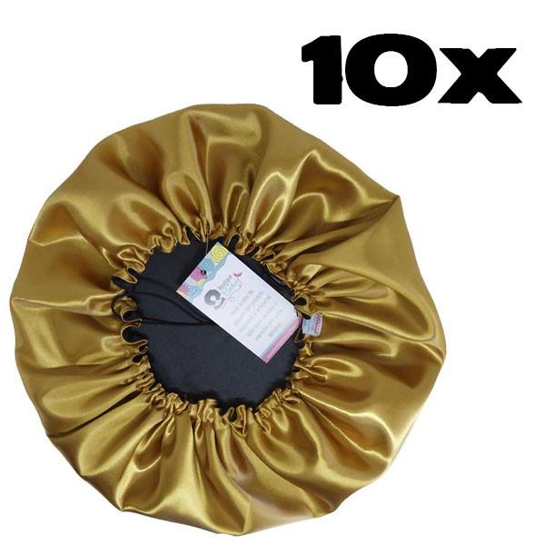 Kit com 10 Toucas de Cetim - Preto com Dourado