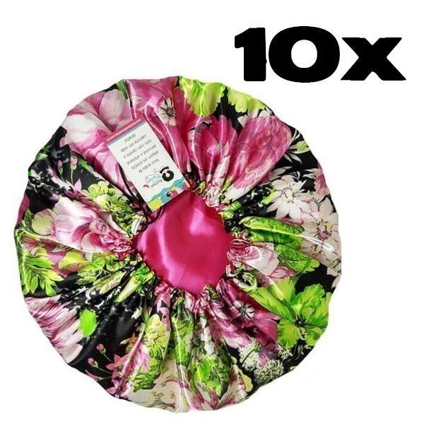 Kit com 10 Toucas de Cetim - Rosa Floral