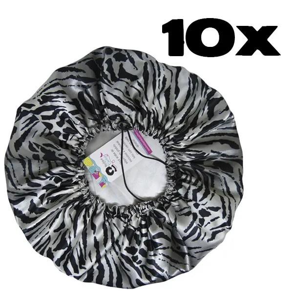 Kit com 10 Toucas de Cetim - Tigre Cinza