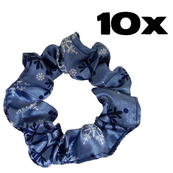 Kit com 10 Xuxinhas de Cetim - Flocos de Neve Azul
