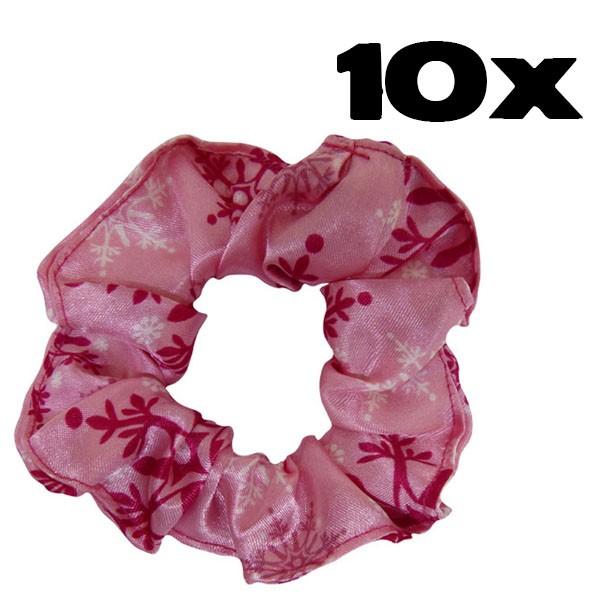 Kit com 10 Xuxinhas de Cetim - Flocos de Neve Rosa