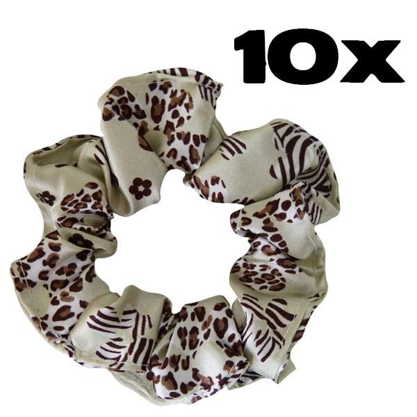 Kit com 10 Xuxinhas de Cetim - Floral Animal