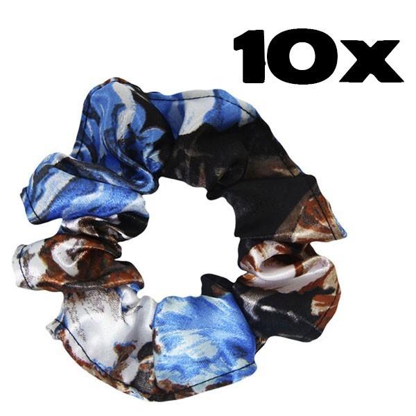 Kit com 10 Xuxinhas de Cetim - Floral Azul II