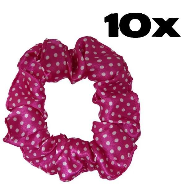Kit com 10 Xuxinhas de Cetim - Poá Rosa