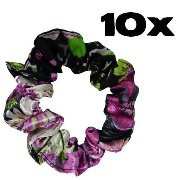 Kit com 10 Xuxinhas de Cetim - Rosa Floral