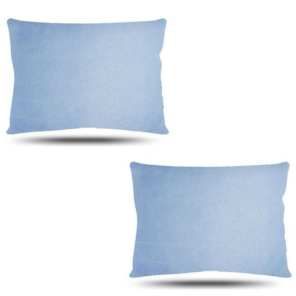 Kit com 2 Fronhas de Cetim - Azul Claro