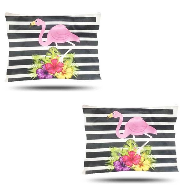Kit com 2 Fronhas de Cetim - Flamingos e Listras