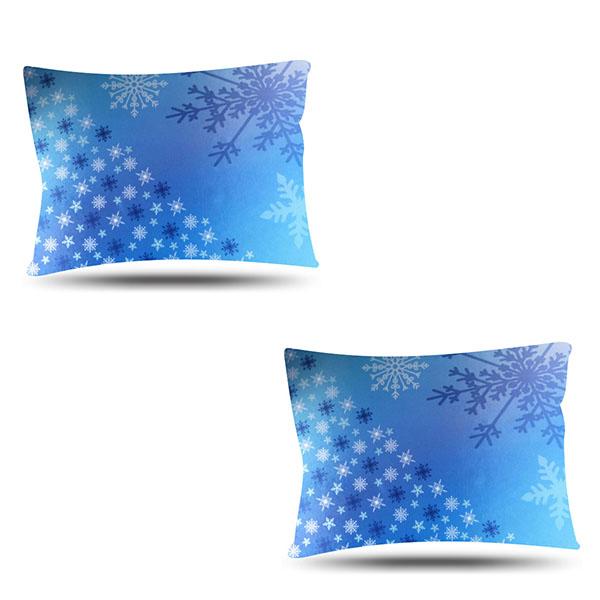 Kit com 2 Fronhas de Cetim - Flocos de Neve Azul