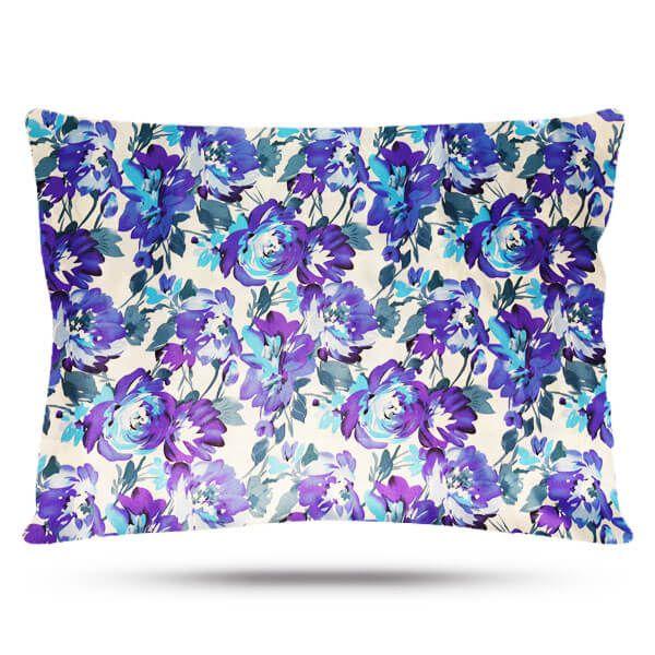 Kit com 2 Fronhas de Cetim - Floral Azul I