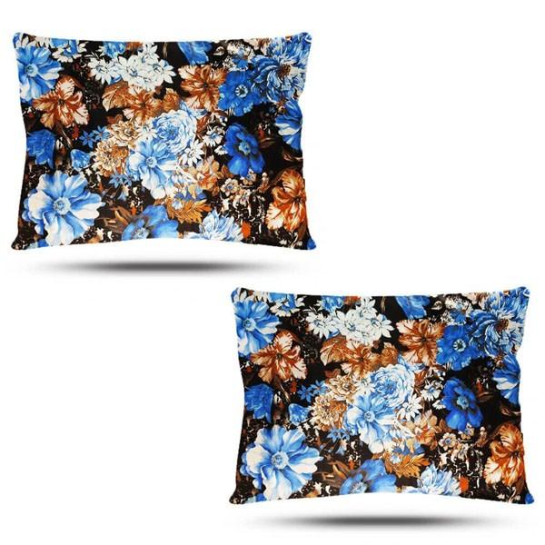 Kit com 2 Fronhas de Cetim - Floral Azul II