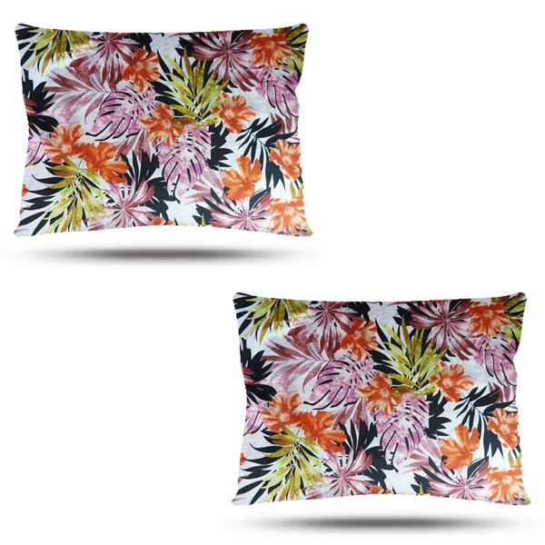 Kit com 2 Fronhas de Cetim - Floral Ferrugem