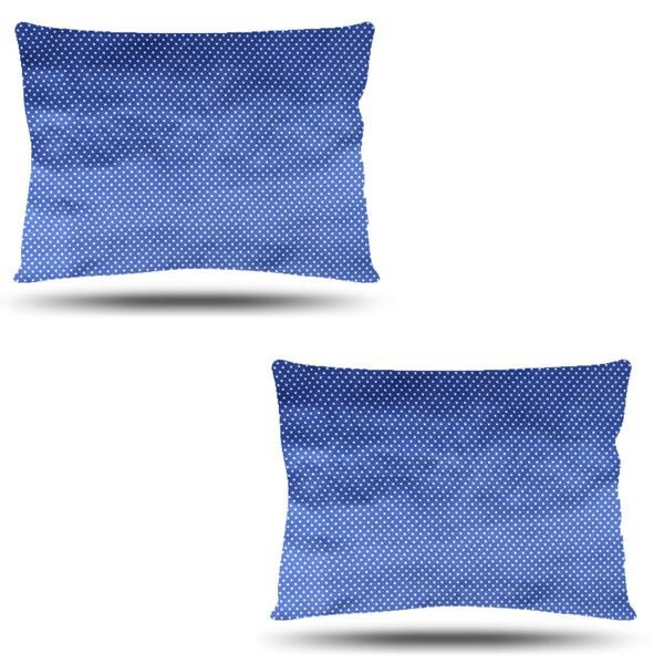 Kit com 2 Fronhas de Cetim - Poá Azul Royal