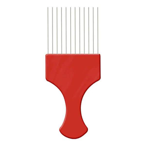 Pente Afro com Dente de Aço - Vermelho - Pente Garfo