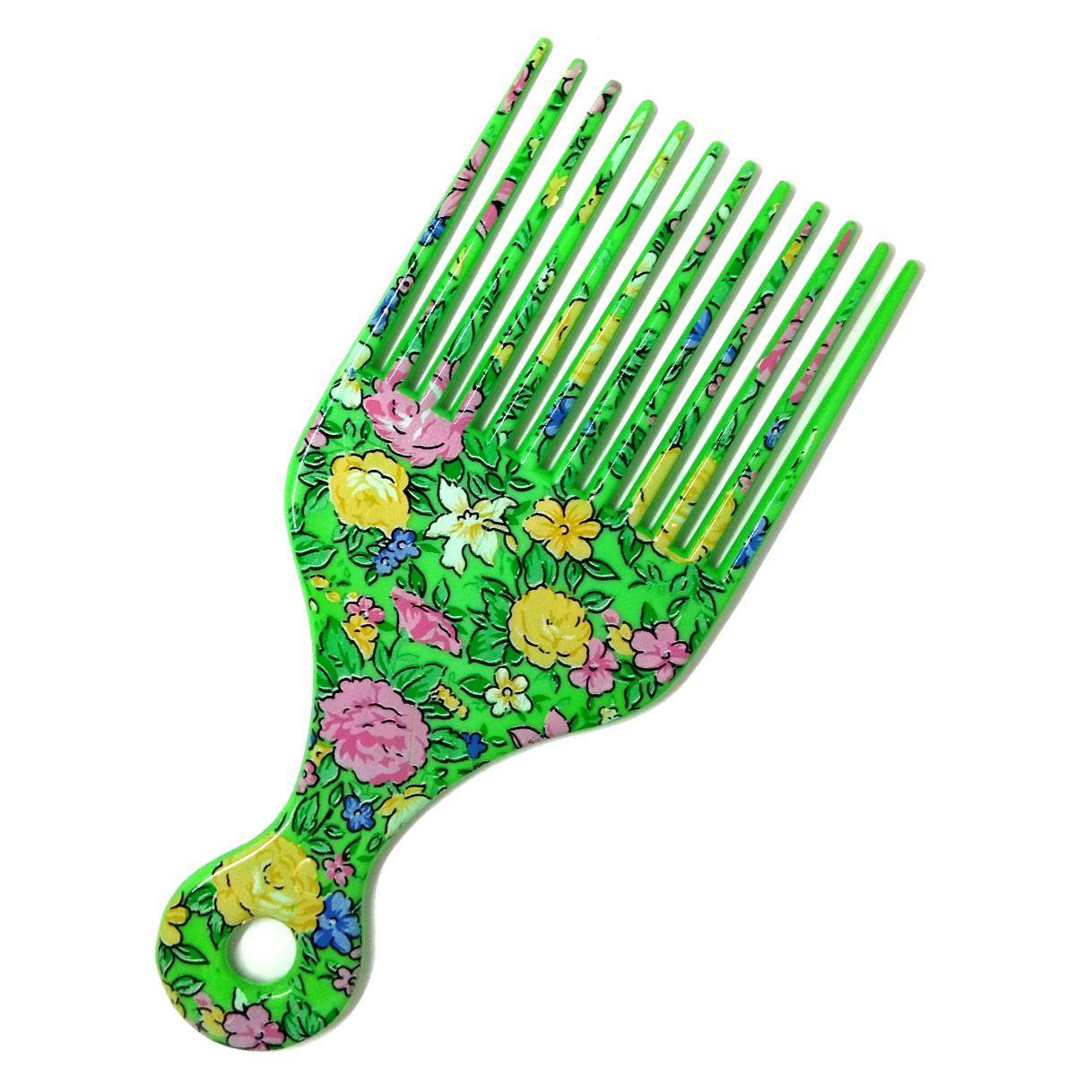 Pente Garfo Black Estampado - Verde Flores 1