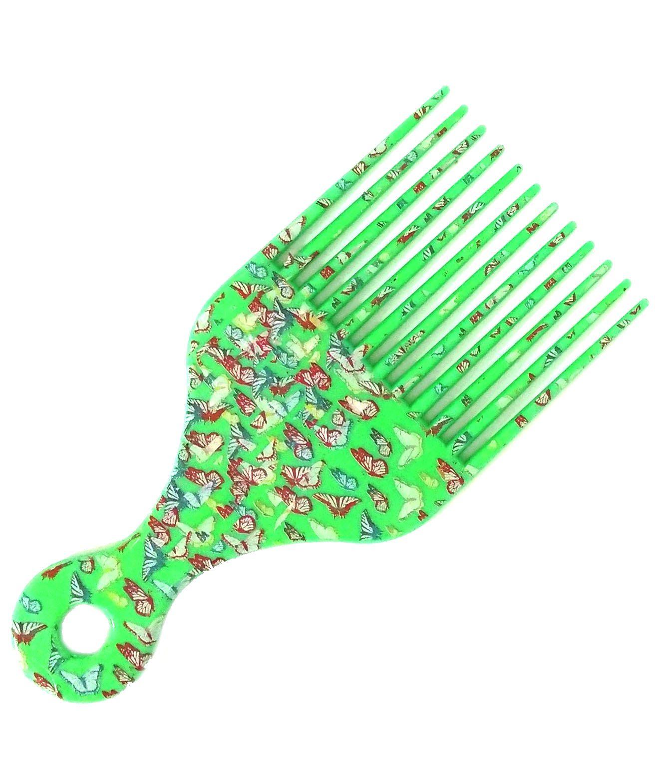 Pente Garfo Black - Verde Borboletas