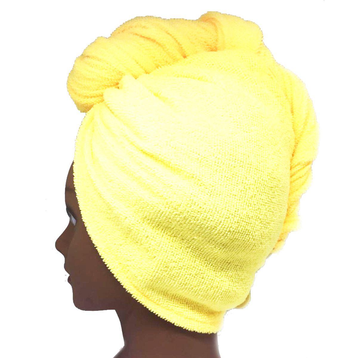 Toalha Turbante de Microfibra Amarela