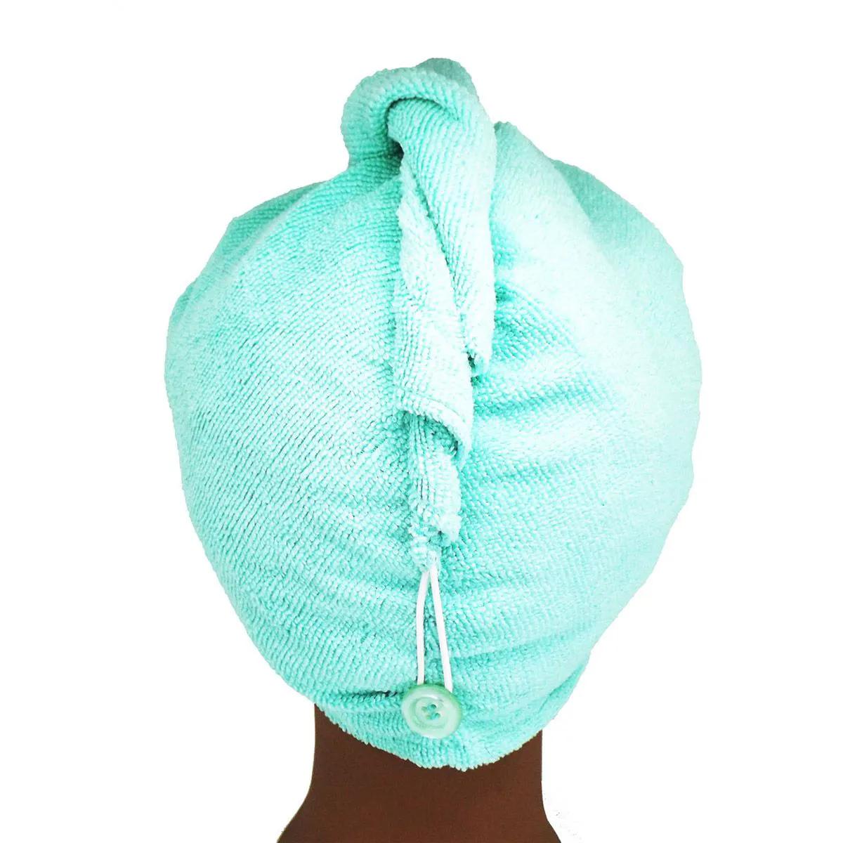 Toalha Turbante de Microfibra Azul