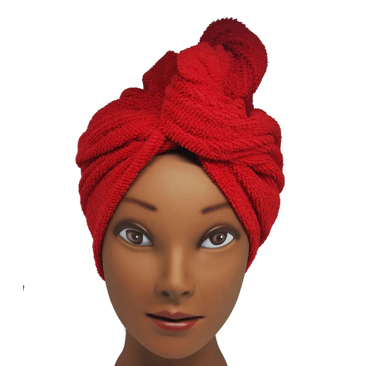 Toalha Turbante de Microfibra Vermelha - Grande