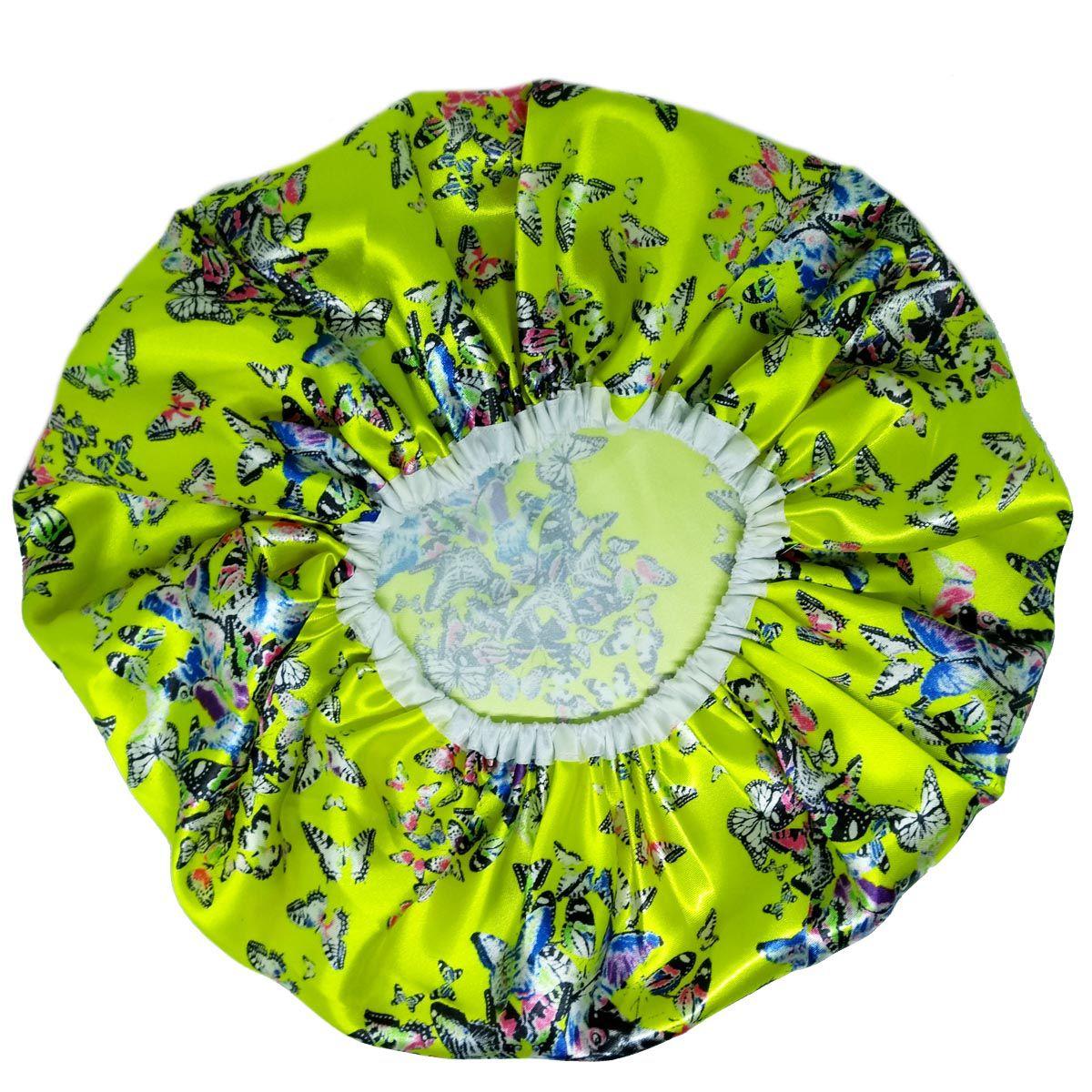 Touca de Cetim Amarela com Borboletas - Basic