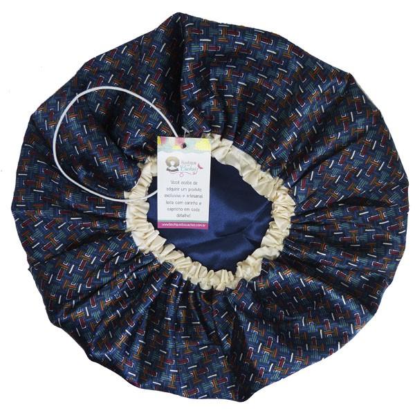 Touca de Cetim - Dupla - Azul Geométrico -Viés e Ajustável
