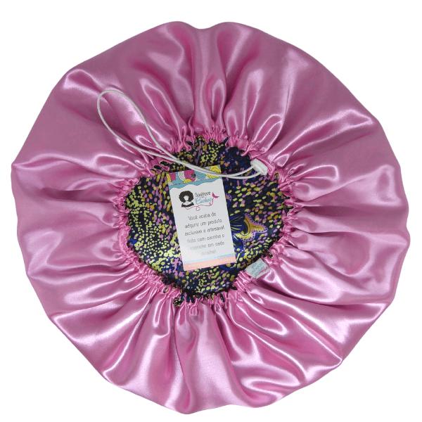 Touca de Cetim - Dupla - Borboletas Rosa - Ajustável