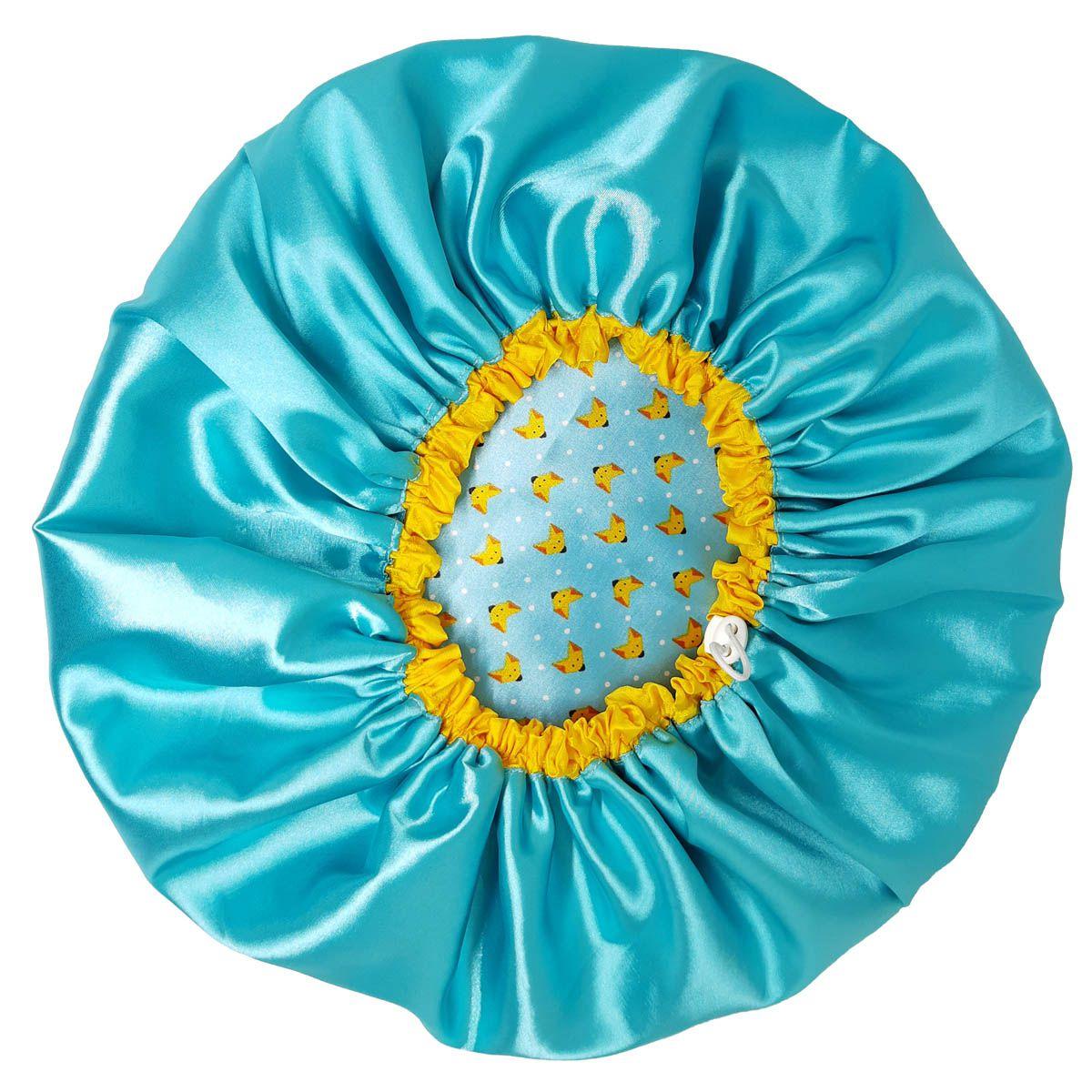 Touca de Cetim - Dupla com Regulagem - Azul com Amarelo Raposinha