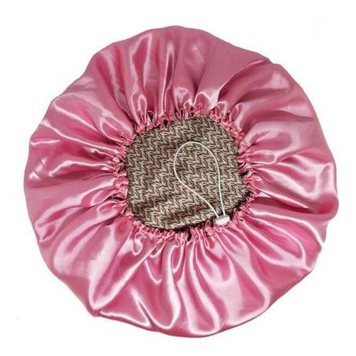 Touca de Cetim - Dupla - Estampa Rosa e Cinza - Ajustável